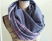 Flannel one loop double pocket scarf plaid and hounds tooth scarf travel scarf, pocket scarf