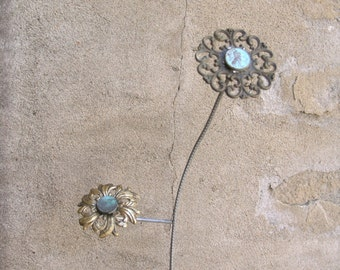 Brass Flower, Junk Flower Art, Penny Art, Drawer Pull Art, Vase Filler, Decorative Flower, Coworker gift idea, Classy Flower, Hotel Decor