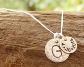 Initial Necklace Hand Stamped Sterling Silver with Date Tag
