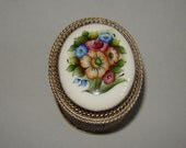 Old Vintage 1970s Authentic Russian Finift Handpainted Enamel Brooch Box -  USSR