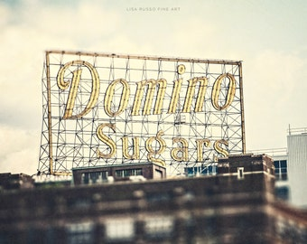 Baltimore Photography, Retro Kitchen Print or Canvas Wrap, Domino Sugar Sign, Baltimore Harbor, Ivory Cream, Rustic Kitchen.