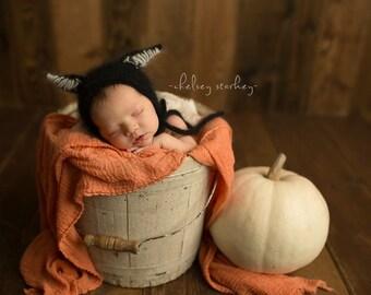 KNITTING PATTERN ONLY! Angora Cat Bonnet- Newborn
