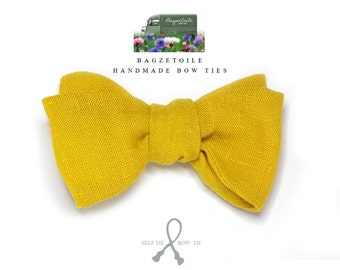 Linen bow tie, mens, pure linen -yellow, freestyle, self tie, for men / adjustable bow tie : perfect for your summer wedding / groomsmen.
