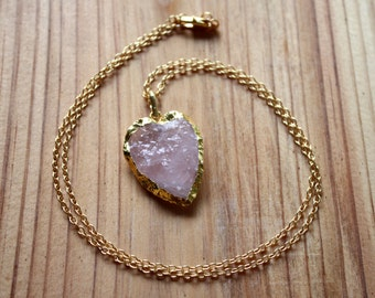 Rose Quartz Heart Necklace - Gold Edged Quartz Pendant - Gold Filled Chain - Love Stone Necklace - Organic Layering Necklace - Two Feathers
