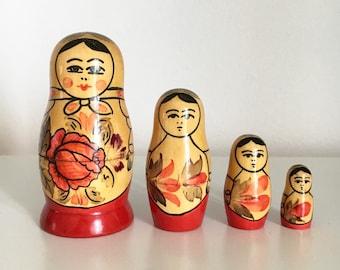 SALE Vintage USSR Hand Painted Matryoshk Dolls / Nesting Dolls (Four)