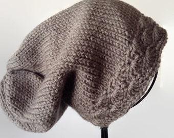 Grey Knit Slouch Hat, Women's Knit Hat, Knitted Slouch, Grey Winter Hat, Women's Grey Hat, Grey Slouch, Knit Slouchy