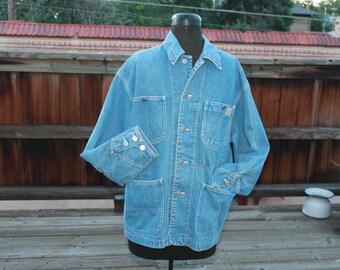 Vtg. UNISEX Ralph Lauren Country Barn Jean Denim Jacket men small women medium/large
