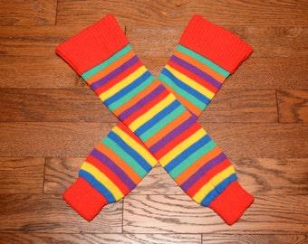 vintage 70s 80s leg warmers stripe socks striped thigh high roller derby 1970 1980 athletic rainbow stripe leg wamer