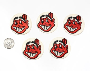 """vintage 60s 70s Cleveland Indians patch MLB baseball 1960 1970 round patch 2"""" felt patch World Series 2016 Chief Wahoo logo"""