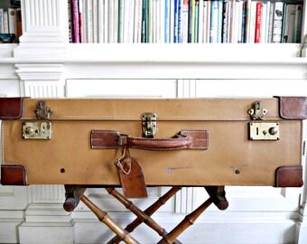 French Vintage Leather suitcase  Xtra Large luggage