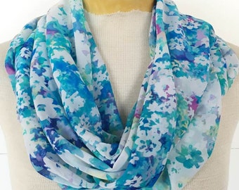 Infinity / Loop Scarf - Blue & Purple Flower Print Chiffon Scarf