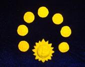 Set of 7 Sun Face Beads and 1 Sun Face Pendant, Matte Yellow Polymer Clay