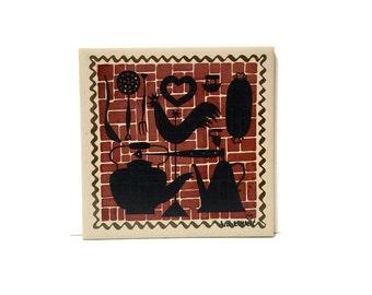 Vintage Robert Darr Wert Ceramo Studio NY Country Print ceramic Tile Trivet hand screen printed