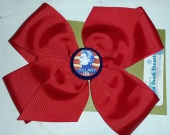 HILLARY CLINTON for President 2016 Democratic Hair Bow HEADBAND Grosgrain Ribbon by Mama Duck Creations