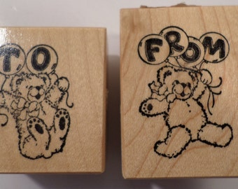 Psx Rubber Stamp To From C-503, C-504 To From Te4Ddy Bear With Balloons Gift Tag