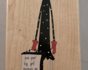 Big Girl Panties And Deal With It Stamps Happen Dolly Mama  Wooden Rubber Stamp