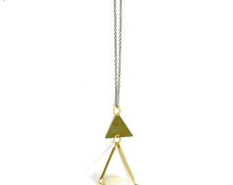 20% OFF BIRTHDAY SALE Vintage crystal teardrop triangle necklace brass bohemian