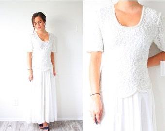20% OFF HALLOWEEN SALE Vintage short sleeve wedding dress // beaded lace modern dress // modest wedding dress // scoop neck large wedding //