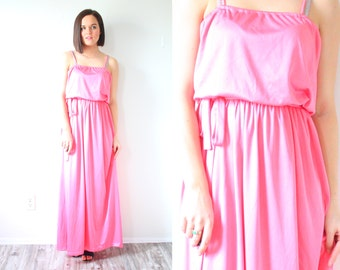 Vintage bubblegum pink maxi dress // floor length dress // spaghetti strap dress // prom dress // party dress // summer maxi dress // small