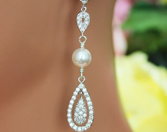 Crystal Chandelier Wedding Earrings, Cubic Zirconia Long Bridal Earrings, Bridesmaids Earrings, Bridal Accessories, Crystal Drop Earrings