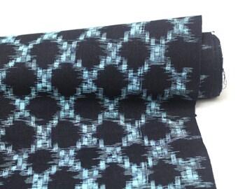 Japanese Vintage Kasuri Ikat. Woven Indigo Cotton Bolt. Traditional Folk Fabric. Bingo (Ref: 1682)