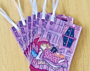 Sleeping Kitty Cat Gift Tags, Thank You, Wedding, Birthday, Hang Tags Lot of 6