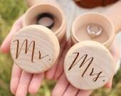 Mr and Mrs Ring Box Set Keepsake Ring Box Engraved Rustic Wedding Ring Box