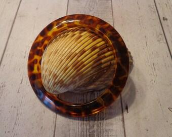 """Vintage Lucite Tortoise Bangle Bracelet 2 1/2"""" Across Opening"""