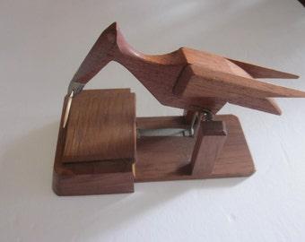 bird toothpick dispenser, vintage folk art wooden bird toothpick dispenser