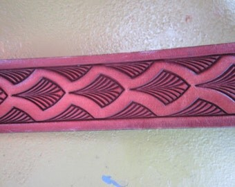 tooled leather belt. brass buckle, belts, tooled leather..USA