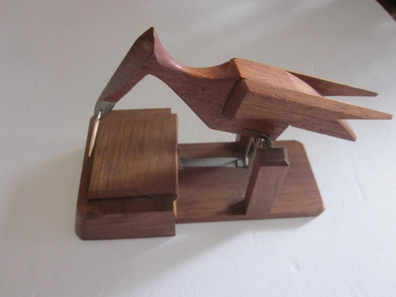 Bird toothpick dispenser vintage folk art wooden bird - Toothpick dispenser bird ...