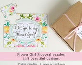 Will You Be my Flower Girl puzzle, bridal party proposal, card, invitation, unique proposal, watercolor flowers, pink yellow b