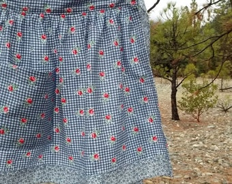 Womans Blue Gingham and Floral Half Apron