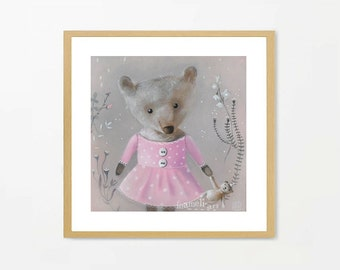 Nursery Print, Teddy Bear Art, Bear Art Print, Pink Grey Nursery Art, Girly, Nursery Illustration, Nursery Print, Teddy bear Art, Painting