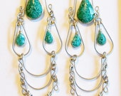 Earrings Sterling and Turquoise Chips Vintage  Native American Southwestern Long Chandelier Dangles Gift for Her Birthday