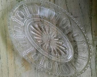 Cut Glass Oval Serving Bowl Candy Dish Wedding Shower Housewarming Gift