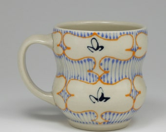 Coffee Mug - Handmade Ceramic Cup with Orange, Sky Blue and Navy Pattern