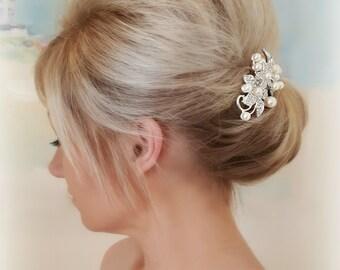 Bridal Hair Comb, Floral Wedding Comb, Pearl and Rhinestone Bridal Hair Comb
