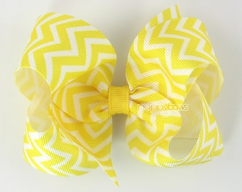 Yellow Chevron Hair Bow - Girls Hair Bows - yellow hair bow - 4 inch hair bows - hair bows for girls - big hair bow large hairbow toddler