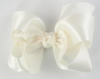 Satin Hair Bow - ivory hair bow - cream hair bow - flower girl hair bow - flower girl hair accessories - 4 inch large hair bow - toddler