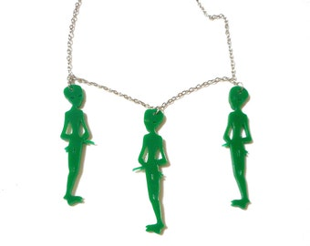 Acrylic LITTLE GREEN MEN Alien Charm Necklace with Silver Chain and Acrylic Alien Pendants