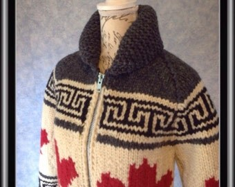 """In Stock and Ready to Ship! (Fits 32-34"""" Chest) Cowichan Style Wool Sweater - Oh Canada! Maple Leaf pattern. Celebrate Canada's 150th!"""