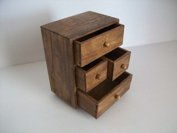 Small Wood Storage Drawers ~ Vintage wooden chest of drawers small desk organizer