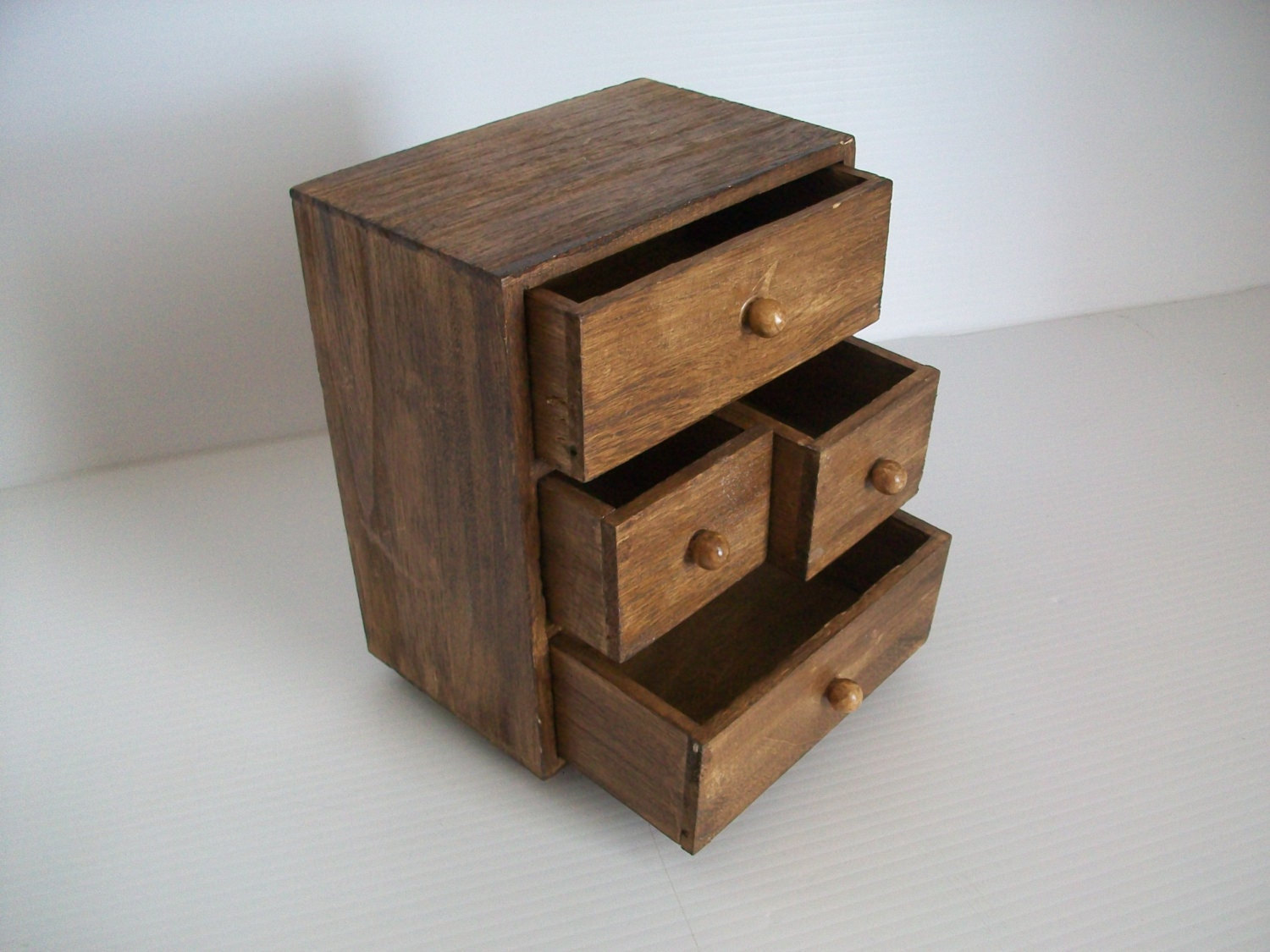 Vintage wooden chest of drawers small desk organizer