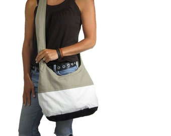 ready to ship ColorBlock crossbody hobo bag with zipper closure and two zipper pockets. sale priced.