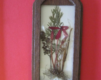 Doll House Miniature Wood Dried Pressed Flower Wall Hanging #27