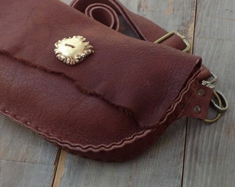 Elk Leather Fanny Pack Purse with Antler Button