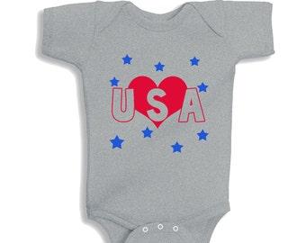 Love USA HEATHER personalized baby bodysuit