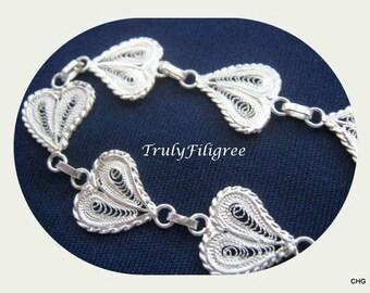 Handmade Sterling Silver Filigree Hearts Bracelet