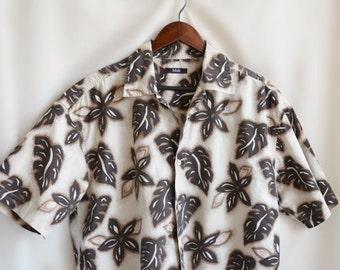 Floral Men Cotton Long Dress Shirt M - L, Vintage Thaiti Print Summer Wide Tunic